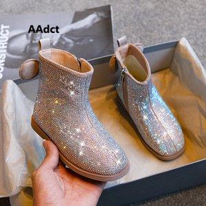 Aadct Princess Girls Boots Autumn New Full Diamonds Little Kids Boots For Girls Brand Moda Scarpe per bambini di alta qualità 201130