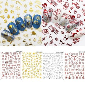 Christmas Nail Art Stickers Gold Silver Red Color Snowflake Snowman Christmas Tree Santa Hollow Nail Decals Manicure Decor