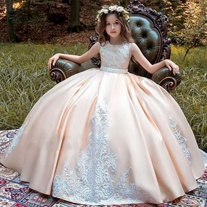 New Flower Girl Dresses Long Sleeve First Communion Dresses O-neck with Bow Sash Ball Gowns Custom Made Vestidos