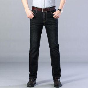 Autumn Men Casual Straight Jeans Male Business Fashion Cropped Leggings Long Pants Elasticity Big Size 40 Loose Denim Trousers