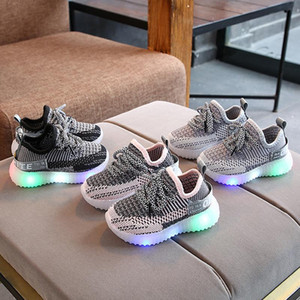 2020 Spring and Autumn Children's LED children's kids sneakers shoes girls running shoes boys soft sole luminous sports