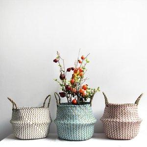 Foldable tecido armazenamento pote jardim flor vaso pendurando cesta com alça de armazenamento cesta inchada natal angelacoco