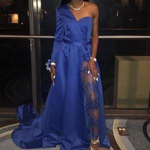 One Shoulder Long Sleeves Arabic Evening Dress Royal Blue Prom Gowns High Split Formal Wear Vestidos De Fiesta