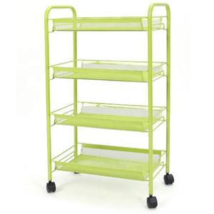 Four layer movable folding shelf and steel tube multifunctional kitchen island cabinet storage box