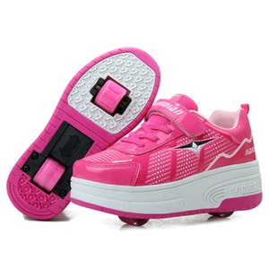RISRICH Kids roller skates shoes for boy girl children tennis sneakers with on wheels kids boys girls rollers skate pink shoes Z1127