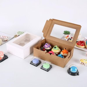 Transparent Windowed Cupcake Boxes White Brown Paper Muffin Box Baking Packing Box Party Gift Box DHD3792