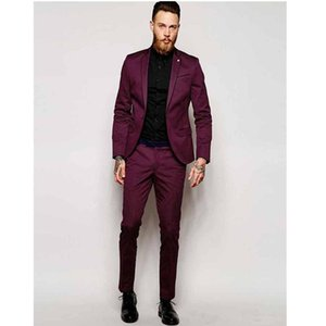 Custom Made One Button Burgundy Groom Tuxedos Notch Lapel Groomsmen Best Man Wedding Prom Suits (Jacket+Pants) A1
