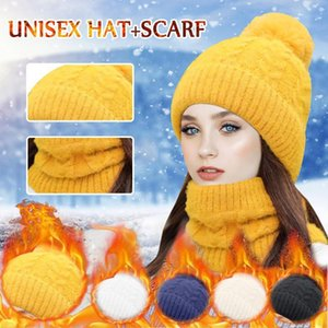 New Winter Knit Hats Scarf Set For Women Thick Warm Beanies Hat Riding Outdoor Beanie Skullies Hats Women's Knitted Bonnet Caps