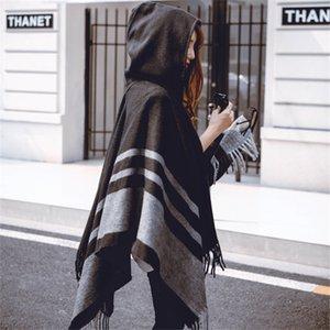 Nueva moda Mantores de gran tamaño cálido invierno con capucha envoltura Cashmere Poncho Plaid Capes Outwear Cardigans Sweater Coat Tassel 210202