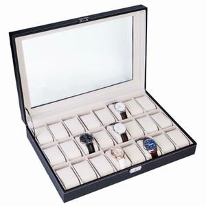 24 Slot Black Leather Watch Box Jewelry Storage Organizer w  Glass Top Display