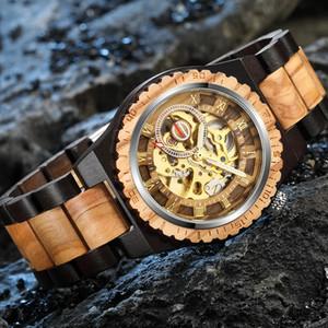 Creative Mechanical Wood Watch Steampunk Skeleton Men automáticos Hombres Natural Reloj de madera Movimiento hueco Pulseras de moda B1205