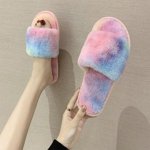 Winter Warm Ladies Slippers Fashion Indoor Plush Slipper Women Non slip New Brand Shoes Faux Fur 2020 Open Toe Flat Footwear