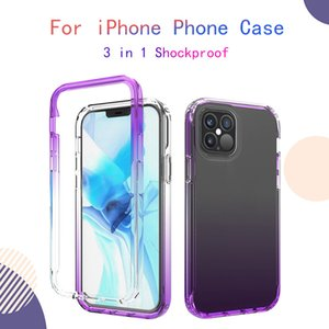 Pour l'iPhone 12 Pro Max Gradient Border Phone Case 3 en 1 Couverture de protection anti-choc anti-automne TPU douce pour iPhone XS 11 8
