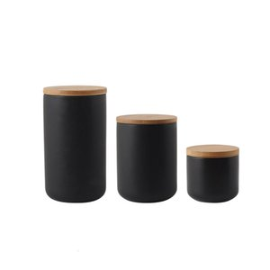 Nordic Ceramic Stockage Jar avec couvercle en bambou Set d'étanchéité étanche à carreau de 3 conteneurs pour café de thé Succe Spice Black