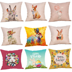 45x45cm Easter Pillowcase Bunny Egg Rabbit Cushion Cover Happy Easter Decoration for Home Birthday Party Gifts for Kids 11 Styles