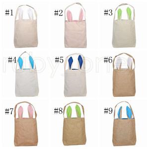 Easter Rabbit Ear Baskets 2021 Easter Egg Hunts Bags Handbag Kids Candy Bag Bucket Gift Bags Burlap Storage Bags Sea Shipping RRC5335