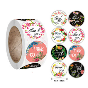 500pcs 1inch Roll 8 Styles Flower Thank You Handmade Round Adhesive Stickers Label Baking Wedding Gift Decoration