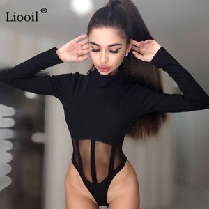 Liooil Black White Sheer Mesh Bodysuit Tops For Women Sexy Outfits Long Sleeve Turtleneck Bdycon Party Jumpsuit Club Romper Q1117