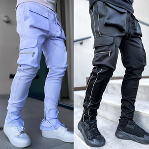 Godlikeu Spring y otoño Stretch Multi-Pocket Reflective Sports Sports Fitness Casual Pantalones