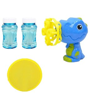 Children Dinosaur Automatic Bubble Machine Gun Soap Bubble Blower With 2 Solution Sets Outdoor Child Toy For Kids