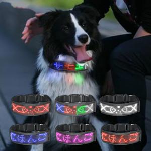 Flexible Nylon Waterproof LED Bluetooth Programmable Display Board Pet Dog Collar Adjustable Lighting Safely Light Up Dog Brand
