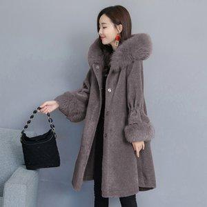 WYWAN Kış Yeni Koyun Shearling Ceket kadın Orta Uzunlukta Tilki Kürk Parçacık Yün Tek Kürk T200831