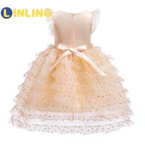 LINLING Girls Dresses SummerGirls Layered Sleeveless Dress Kids Ball Gown Solid Girl Princess Dress Children Clothes P224