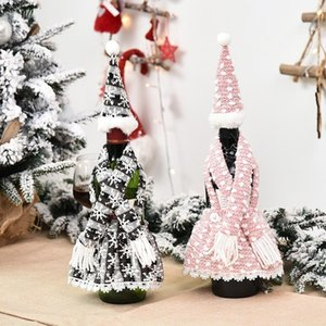 Weihnachten Champagner Flasche Abdeckung Schürze Set Design Festival Weihnachten Rotwein Flasche Abdeckung Tisch Wein Flasche Dress Up Requisiten OWD3150