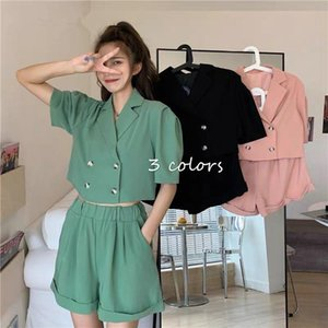 Bella Philosophy Wonder Two Pieces Casual Sets Vintage Double Breasted Short Blazers Female Suits Office Lady Blazers&Shorts Set