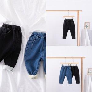 WNZMS Dojhonkids Thicken Korea jeans Children child Fashion Denim Solid Pant Add velvet Keep warm for Kids Baby Boy Girls Solid Jeans