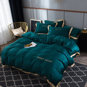 Luxury Bedding Set 4pcs Flat Bed Sheet Brief Duvet Cover Sets King Comfortable Quilt Covers Single Queen Size Bedclothes Linens 201127