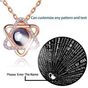 Star Of David Pendant Necklace For Women S925 Silver 100 Languages I Love You Custom Text Pattern Necklaces Female Jewelry Gift