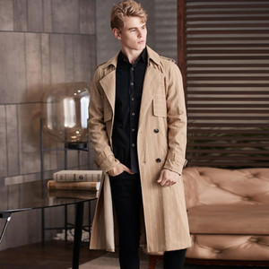 New Autumn Winter Mens Trench High Quality Overlength Loose Raglan Stripe Male Jackets Plus Size 6xl Fashion Casual Man Coats