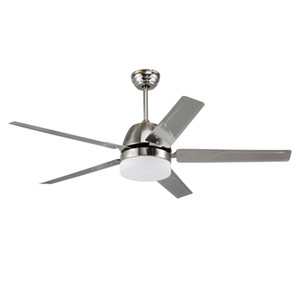 Factory wholesale high quality 1320mm stainless steel LED ceiling fan creative simple 5 leaf led fan light