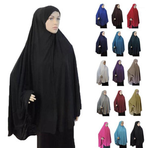 Khimar Hijab Muslim Women Long Scarf Overhead Hijabs Islamic Prayer Clothes Arab Niqab Burqa Ramadan Chest Cover Shawl Wraps Cap1