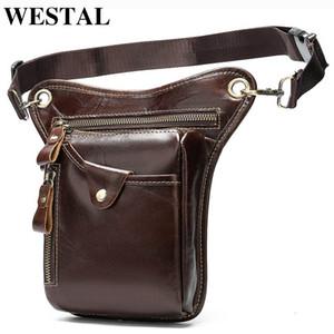 WESTAL Men's Belt Leg Bags Genuine Leather Motorcycle Leg Drop Bag Men Waist Bags Male Fanny Pack Thigh Bag Money Belt Pouch
