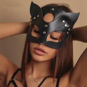 Bdsm Siyah Seksi Deri Maske Parlak Köpüklü Rhinestone Perçinler Fetiş Kedi Kadın Maskeler Cosplay Halloween Masquerade Yarım Yüz Maskesi