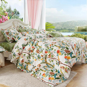 NEW 4 Piece Bedding Set Soft Flora Duvet Cover With Bed Sheet And 2 Pillowcases Four-piece Set Of Bedding