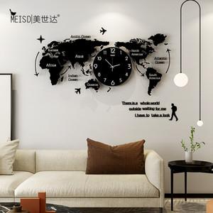 Meisd Original World Map Watch Große dekorative Uhren Quarz Silent Wohnzimmer Wohnkultur Wand Horloge Heißer Verkauf Kostenloser Versand LJ201204