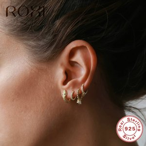 ROXI 925 Snake Animal Stud for Women Sterling Silver Jewelry Personalized Party Punk Earrings Hoop Gift
