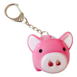 New Arrival Creative Cute Pig Plastic Key Chain with LED Lamp for Women's Bag Decor Pendant