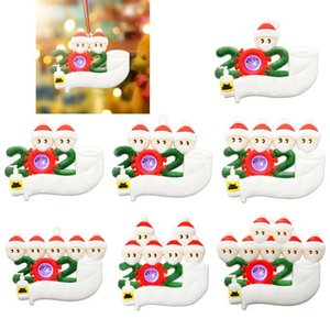 LED Christmas Quarantine Ornaments Toys Survivor 1 to 7 Family Christmas Tree Lighting Ornament Decorations Party Favor Gifts