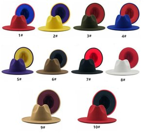 40 Colors Colorful Patchwork Wool Felt Jazz Fedora Hats Women Men Elegant Fashion Wide Brim Panama Party Trilby Cowboy Cap Wedding Hat
