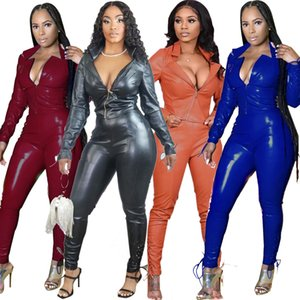 Fashion Faux Leather Jumpsuit Women Long Sleeve Romper With Belt Party Club Overalls Zipper Outfits Pockets Female