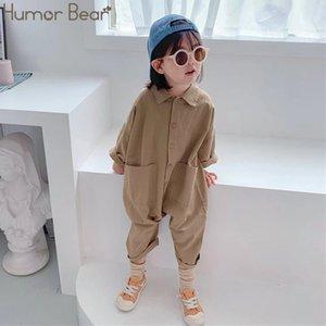 Humor Bear Bambini Abbigliamento Abbigliamento tuta 2020 Autunno Pocket Boys Girls Casual Letter Tooling Denim Bambini vestiti Bambini ragazzi ragazze Y1219