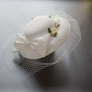 Bride wedding hairpin church fedora hat banquet veil headpiece beauty hair accessories lady party formal sinamay fascinator