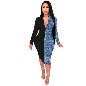 Sexy Panelled Womens Casual Dresses Fashion V Neck Ladies Bydcon Dresses Slim Designer Womens Long Sleee