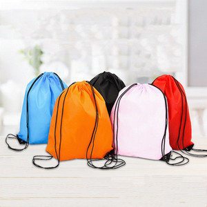 Creative Portable Drawstring Backpack Solid Color Sports Fashion String Folding Drawstring Bags D210 Polyester Storage Handle Bags DHD3408