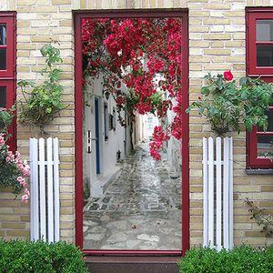 Etiquetas de la puerta 3D Cross-Frifting Hot Selling Town SaffLower Paisaje Hogar Puerta de madera Renovación Pegatinas de pared decorativas SP-F050