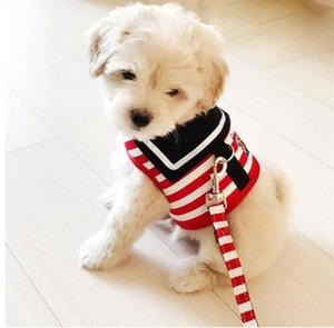 Pet Dog Adjustable Dog Collar Harness Leash Creative Navy Suit Style Chest Strap Secure Traction Rope for Small Medium Dogs Cats